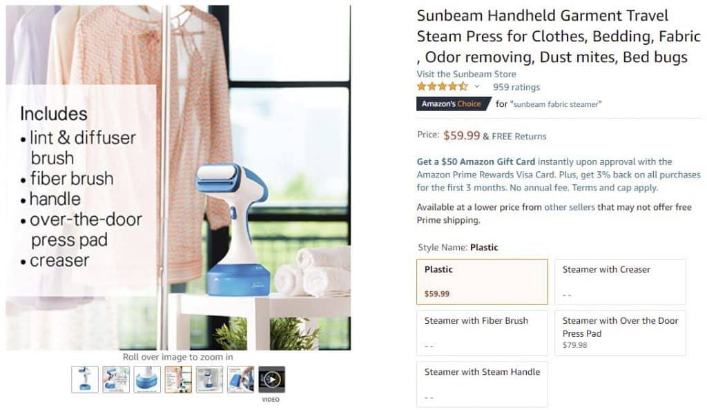 sunbeam steamer for clothes